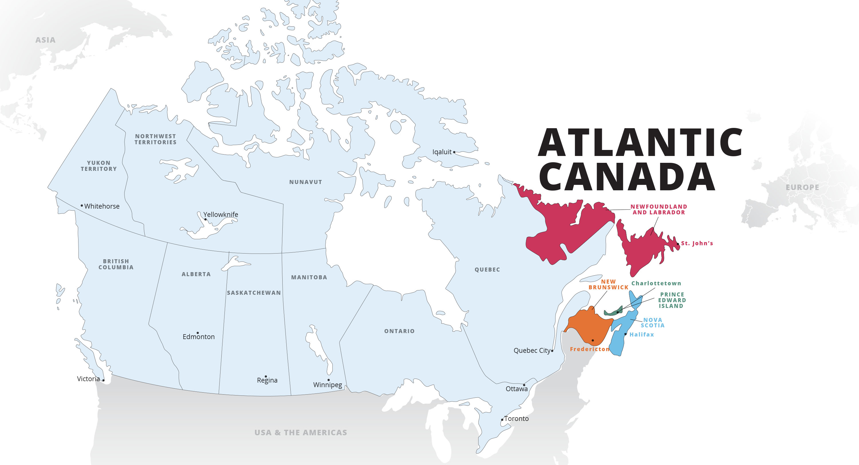 Map of Canada with Atlantic Canada provinces highlighted