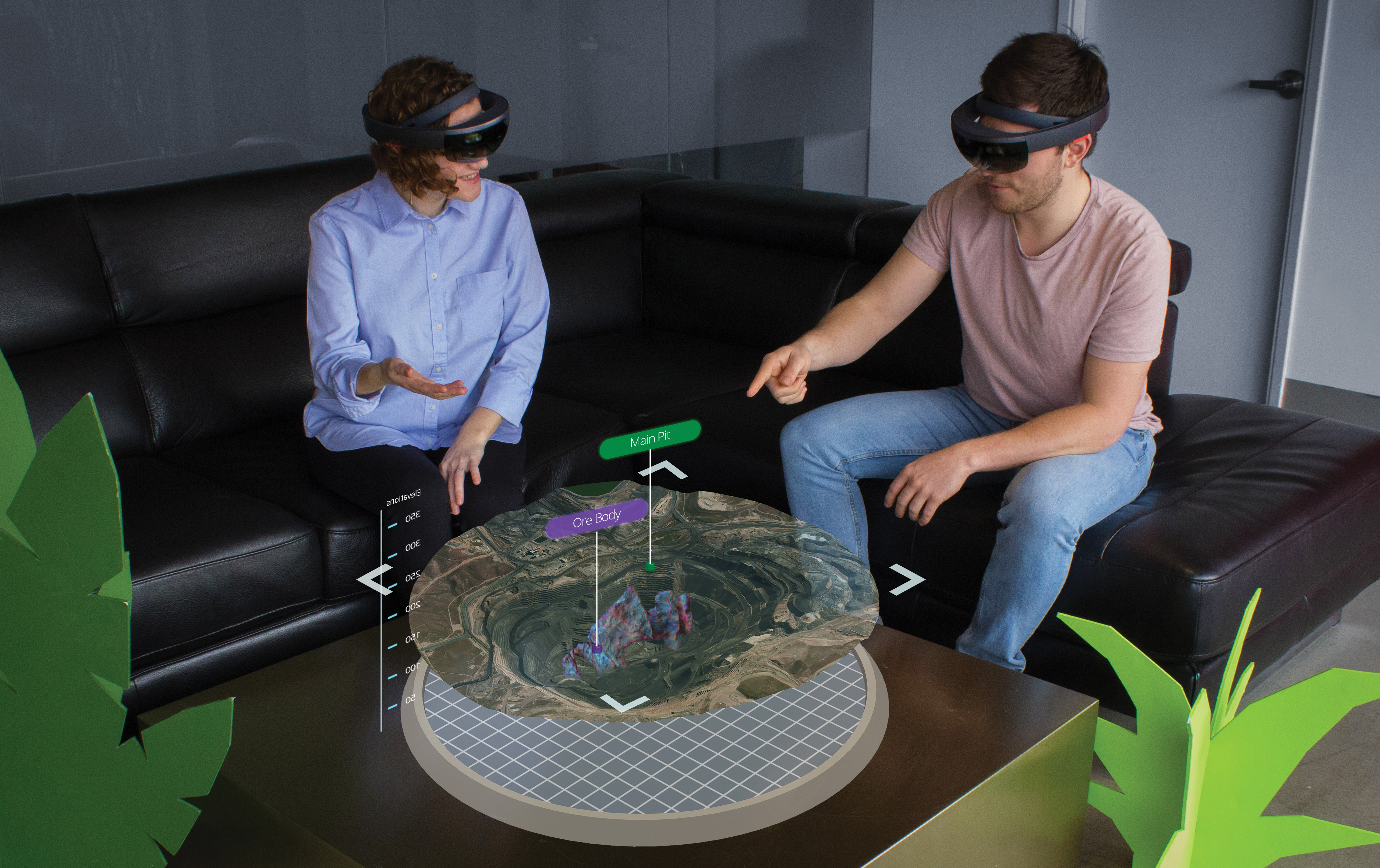 people wearing VR headsets explore a virtual mine