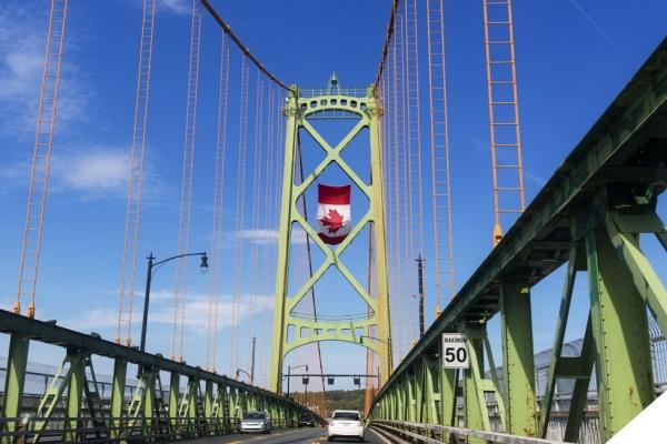 Suspension bridge with Canada flag