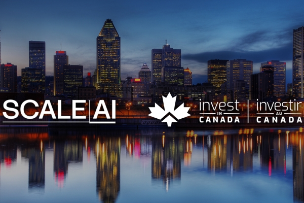 skyline of Montrel with Scale AI and Invest in Canada logo