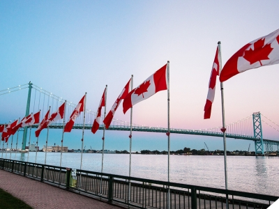 row of Canadian flags