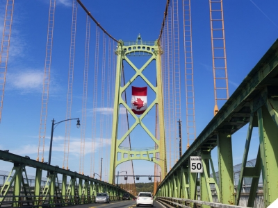 Suspension bridge with Canada flag